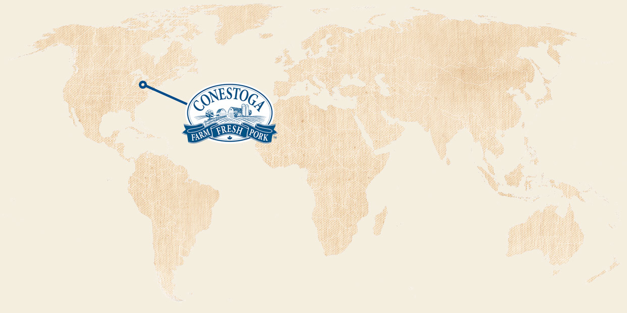 map showing all continents of the world with the logo of Conestoga Meats situated in Southern Ontario, Canada